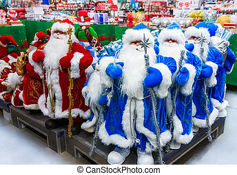 santa claus, speelbal, in, supermarket.
