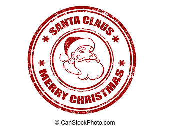 Santa Claus stamp - grunge rubber stamp with word Santa...