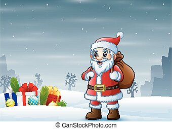 Santa claus standing in the snow with a bag of gifts