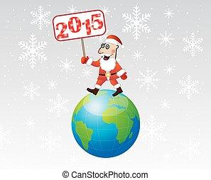 Santa claus steps on earth