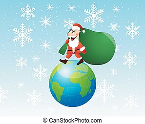 Santa claus steps on earth