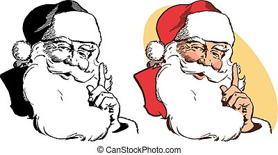 Santa Claus Stroking Beard - A realistic portrait of Santa...