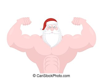 Santa Claus strong. Powerful old man with big muscles....