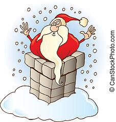Santa Claus stuck in chimney - Illustration of Funny Santa...