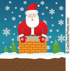 Santa Claus stuck in chimney, vecto