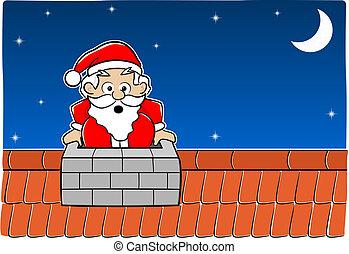 Santa Claus stuck in the chimney - vector illustration of...