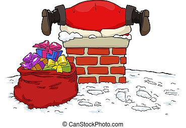 Santa Claus stuck in the chimney vector illustration