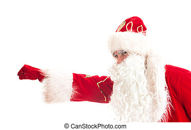 Santa Claus - superhero. Isolated on white.