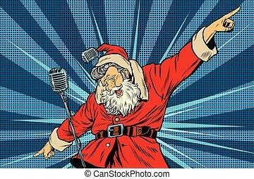 Santa Claus superstar singer on stage, pop art retro vector...
