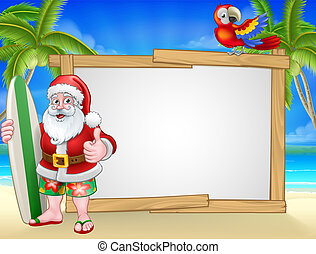 Santa Claus Surf Beach Christmas Background Sign