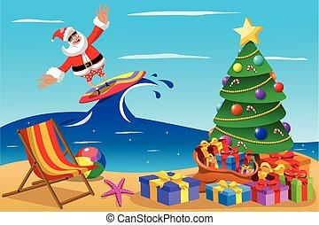 Santa Claus surfing xmas time - Santa Claus surfing in...