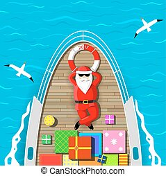 Santa Claus swimming on a yacht