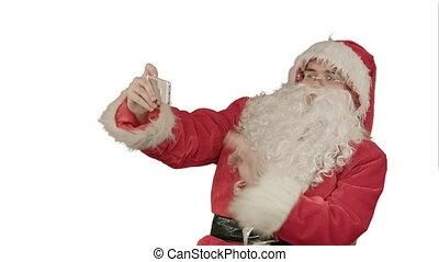 Santa Claus take a selfie on white background