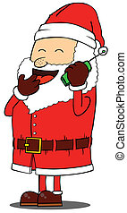 Santa Claus talking on phone
