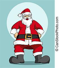 santa, claus:, tarjeta de felicitación, navidad