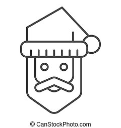 Santa claus thin line icon. Bearded face vector illustration isolated on white. Christmas character outline style design, designed for web and app. Eps 10.