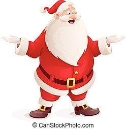 Santa claus throw up hands