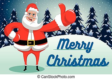 Santa Claus thumb up merry christmas xmas background