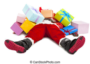 santa claus too tired to lie on floor with many gift boxes...