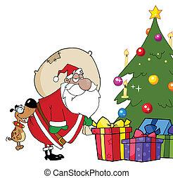 Santa Claus Under A Christmas Tree