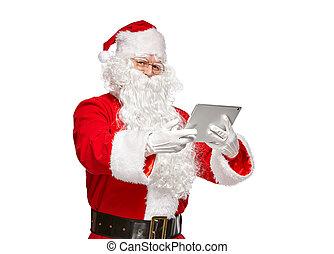 Santa Claus using tablet computer.