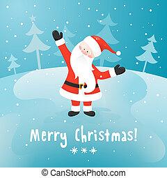 Santa Claus. Vector Christmas card.