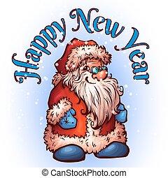santa, claus., vektor, weihnachten, abbildung