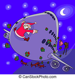 A sledge of Santa Claus is crashed by a plane