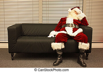 Santa Claus waiting for christmas job