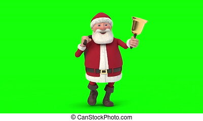 Santa Claus walking on green background. Seamless looping 3d animation. Front View