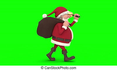 Santa Claus walking on green background. Seamless looping 3d animation. Side View