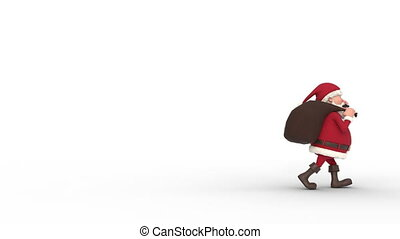 Santa Claus walking on white background across the screen. Seamless looping 3d animation