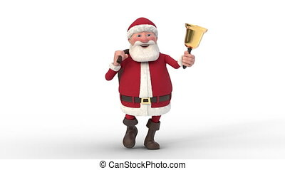 Santa Claus walking on white background. Seamless looping 3d animation. Front View