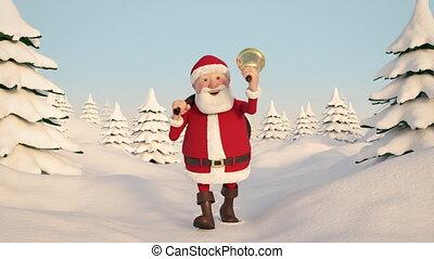 Santa Claus walking through snowy landscape. Frontal View....