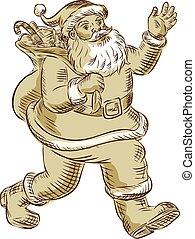 Santa Claus Walking Waving Etching - Etching engraving...