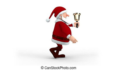 Santa Claus walking with bell