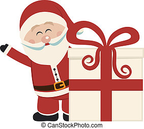 santa claus wave behind gift isolated