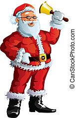 Santa Claus waving a bell