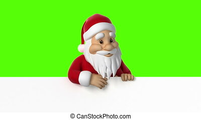 Santa Claus waving on a green background