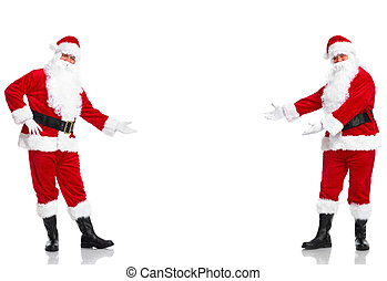 Happy traditional Santa Claus presenting copyspase. Christmas. Isolated on white background.