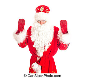 Santa Claus welcomes you. Isolated on white.