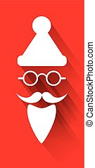 Santa Claus white on red background design