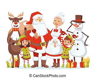 Santa Claus wife and kids cartoot family vector - Santa...