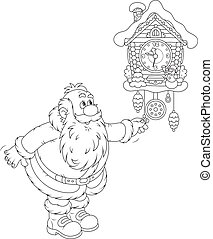 Santa Claus winds a cuckoo-clock - Father Christmas winding...