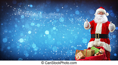 Santa Claus with a bag full of presents