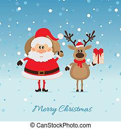 Santa Claus with a bag of deer