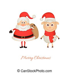 Santa Claus with a bag of gifts and sheep