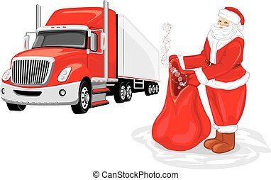 Santa Claus with a bag of gifts. Christmas delivery.