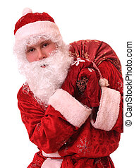 Santa Claus with a bag of gifts.