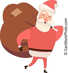 Santa Claus with a bag. Vector illustration on white background. Flat and cartoon style.